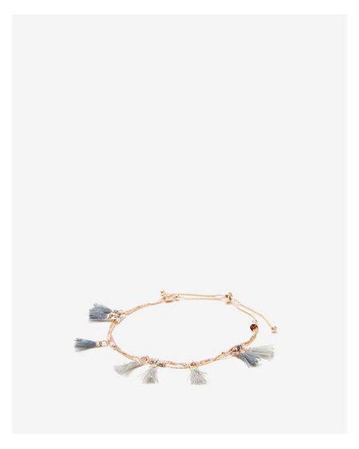 Express - Gray Mini Tassel Pull-cord Bracelet - Lyst
