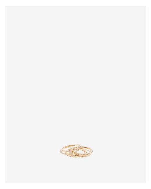 Express - Metallic Set Of Three Pave Rings - Lyst
