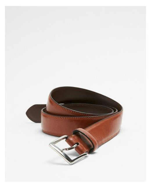 Express - Brown Stitched Prong Buckle Belt for Men - Lyst