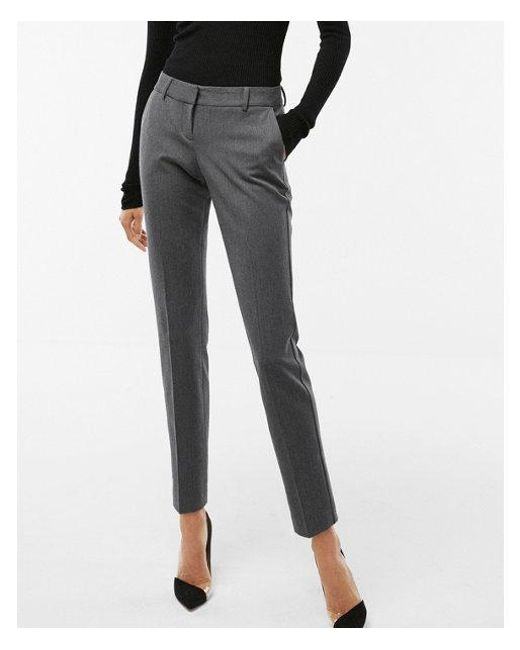 Express - Gray Low Rise Heathered Columnist Ankle Pant - Lyst