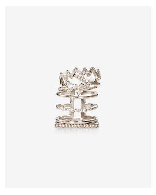 Express | Metallic T Of Four Pave And Rhinestone Rings | Lyst