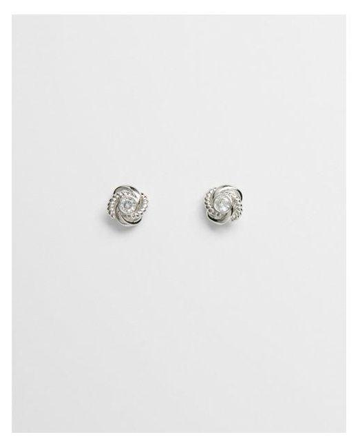 Express - Metallic Textured Knot Post Back Earrings - Lyst