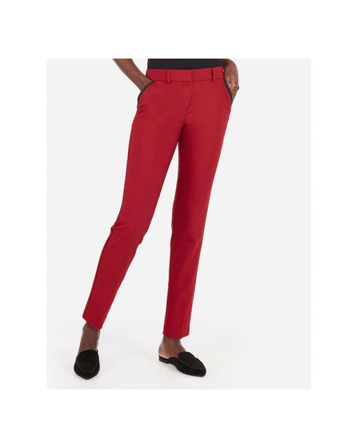 Express - Mid Rise Piped Ankle Columnist Pant Red - Lyst
