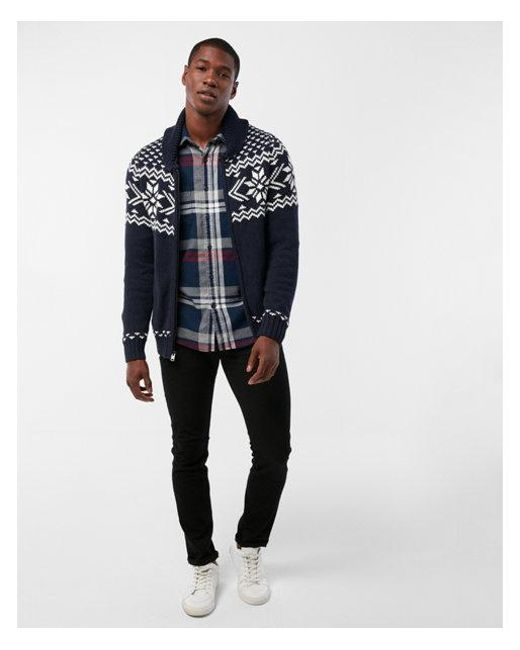 Express Fair Isle Shawl Collar Cardigan in Blue for Men | Lyst