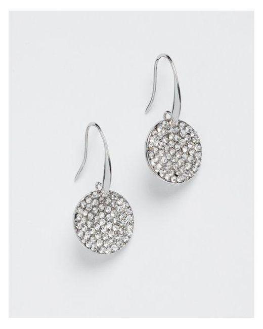 Express - Metallic Pavé Disc Drop Earrings - Lyst
