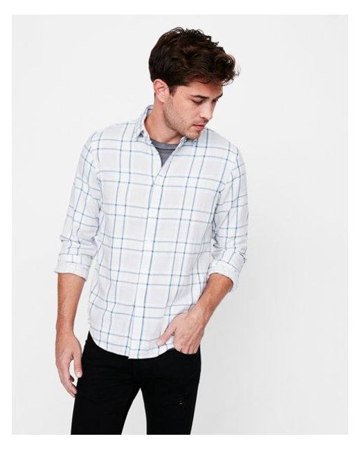 Express - Gray Big & Tall Slim Soft Wash Plaid Double Weave Button Down Shirt for Men - Lyst