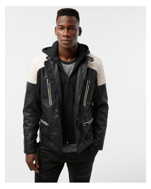 Express - White Quilted System Biker Jacket for Men - Lyst