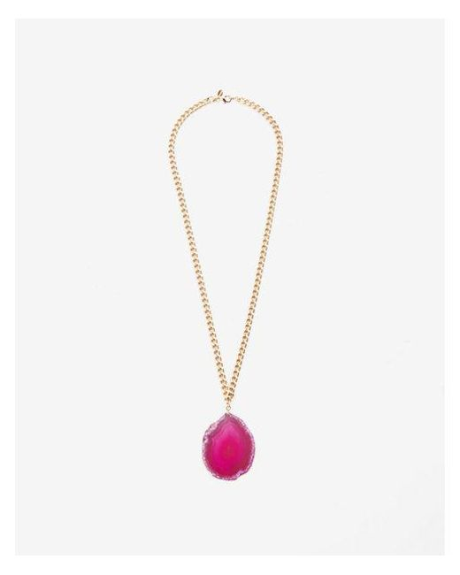 Express | Metallic Enuine Agate Pendant Necklace | Lyst