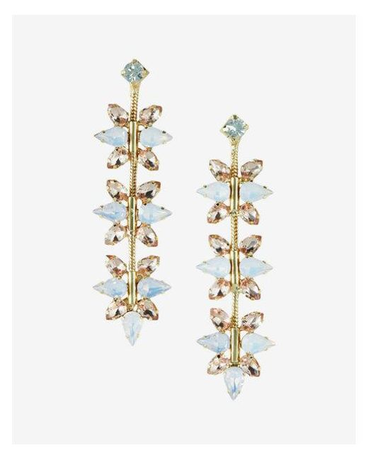 Express - Pink Linear Floral Stone Drop Earrings - Lyst