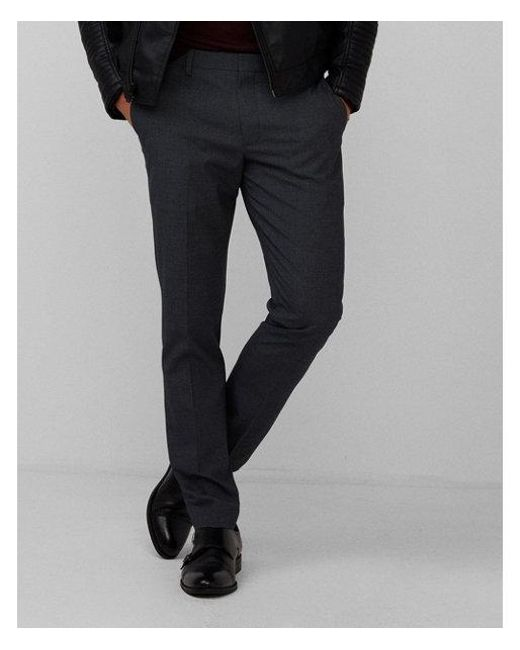 bd4aabe613a Express - Blue Men s Big   Tall Extra Slim Navy Houndstooth Dress Pants for  Men -