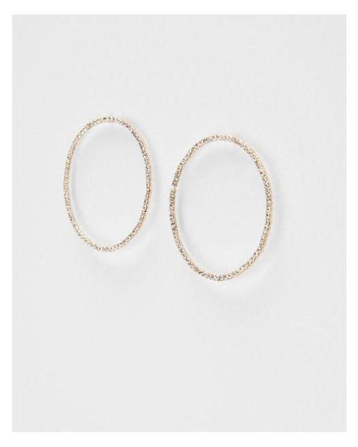 Express - Metallic Pav? Circle Hoop Earrings - Lyst