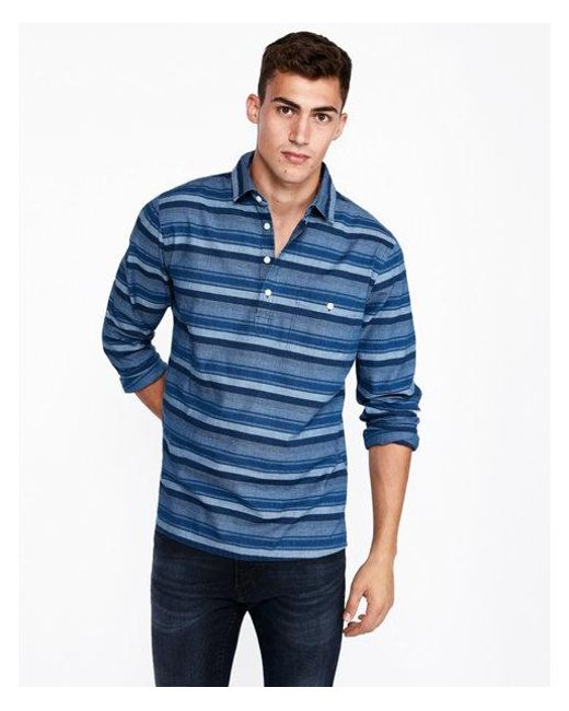 Express - Blue Slim Striped Popover Shirt for Men - Lyst
