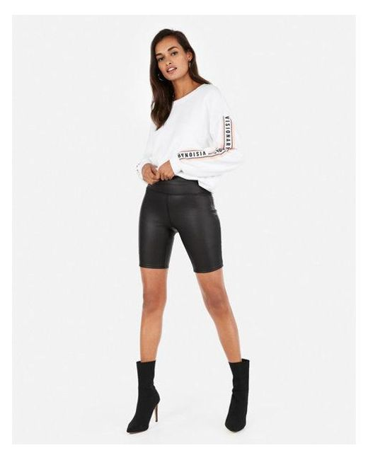 6c6b891158 Women's Black High Waisted Faux Leather Biker Shorts