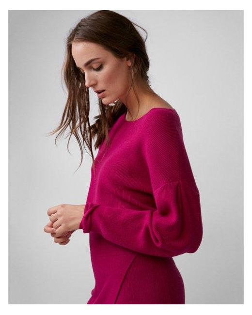 Express - Pink Drop Shoulder Cropped Sweater - Lyst