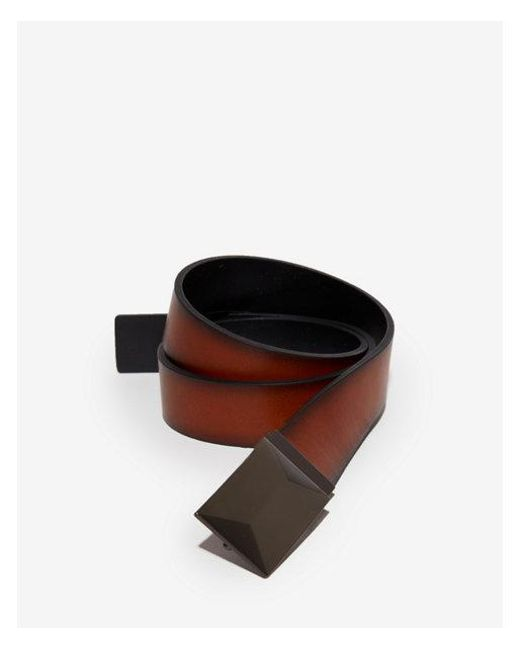 Express - Brown 2-in-1 Raised Geometric Plaque Belt for Men - Lyst