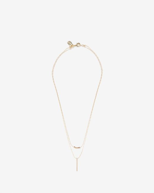 Express - Metallic Double Row Beaded Metal Pendant Necklace - Lyst