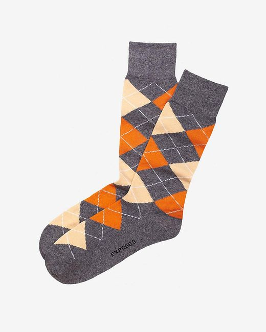 Express | Orange Argyle Dress Socks for Men | Lyst