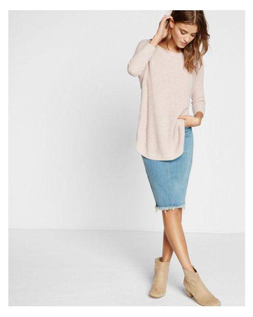 Express - Pink Shaker Knit Circle Hem Sweater - Lyst