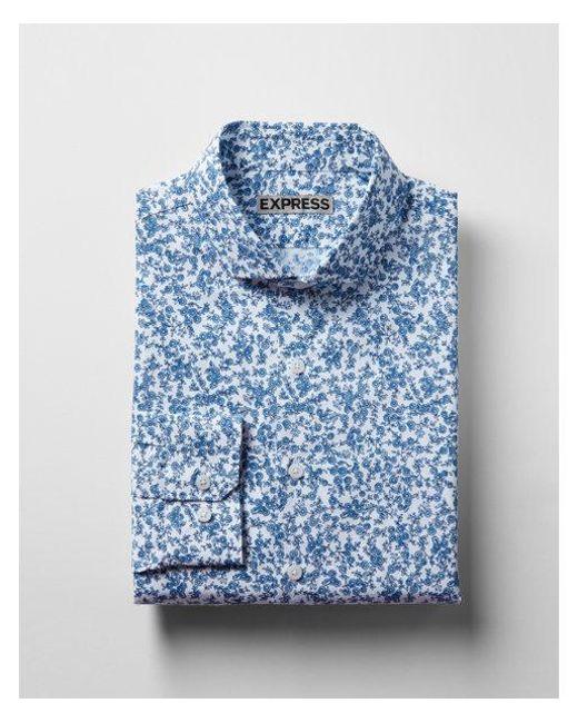 Express - Blue Extra Slim Fit Print Cotton Dress Shirt for Men - Lyst