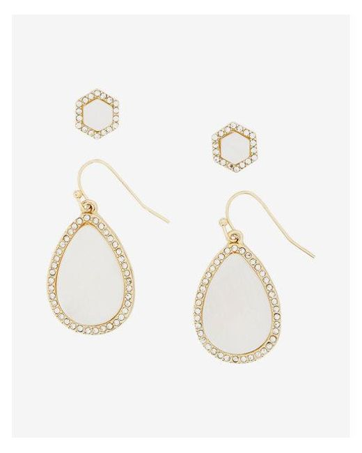 Express | White Set Of Two Embellished Teardrop And Stud Earrings | Lyst