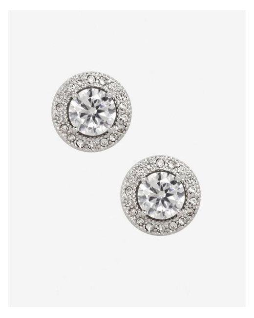 Express - Metallic Cubic Zirconia Pave Halo Stud Earrings - Lyst
