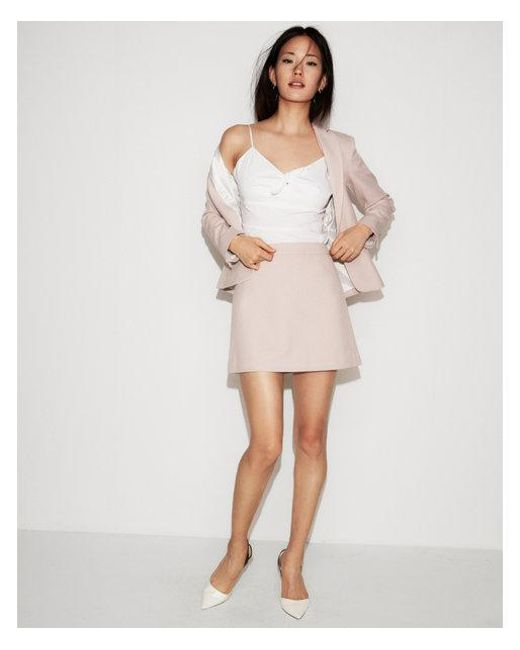 Express - Pink High Waisted Check Clean A-line Mini Skirt - Lyst