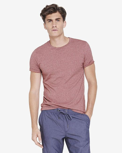 Express | Heathered Flex Stretch Cotton Crew Neck Tee for Men | Lyst