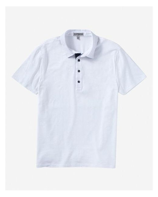 Express - White Chambray Placket Moisture-wicking Polo for Men - Lyst