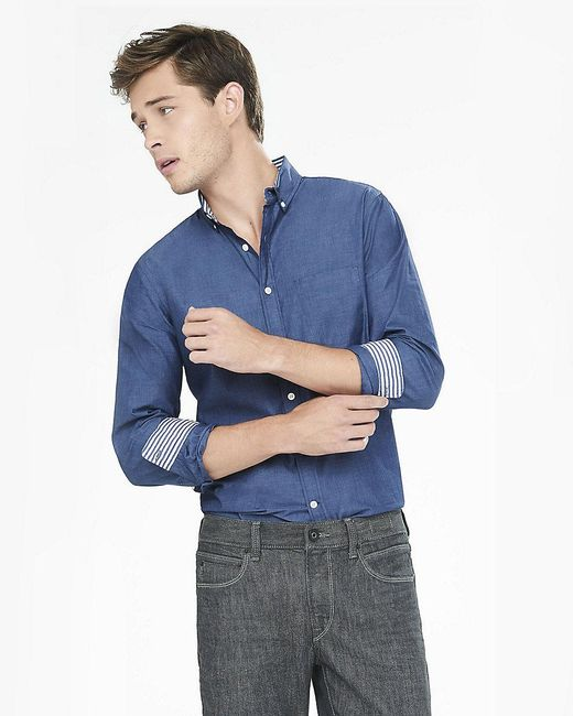 Express | Blue Soft Wash End-on-end Shirt for Men | Lyst