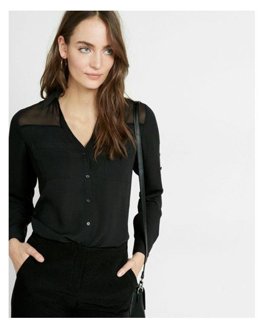 fe58f0fa5f59 Express - Black Petite Slim Fit Convertible Sleeve Portofino Shirt - Lyst