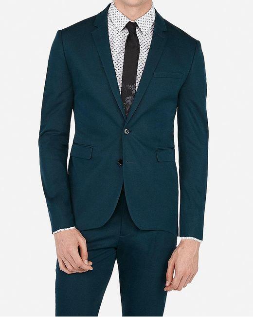 Express Extra Slim Teal Stretch Cotton Blend Suit Jacket Gray for men