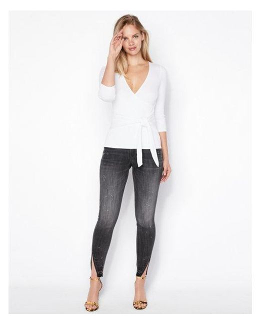 ec7453c06 Express One Eleven Modern Rib Wrap Front Tee in White - Lyst