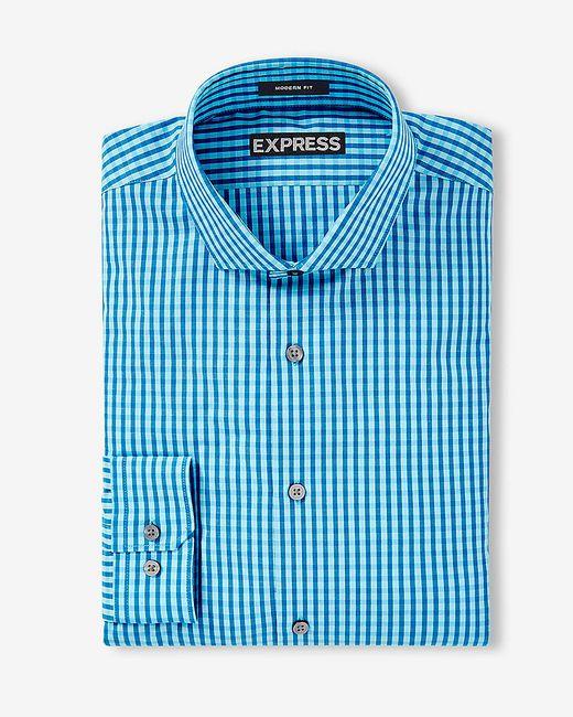 Express   Blue Modern Fit Small Check Dress Shirt for Men   Lyst