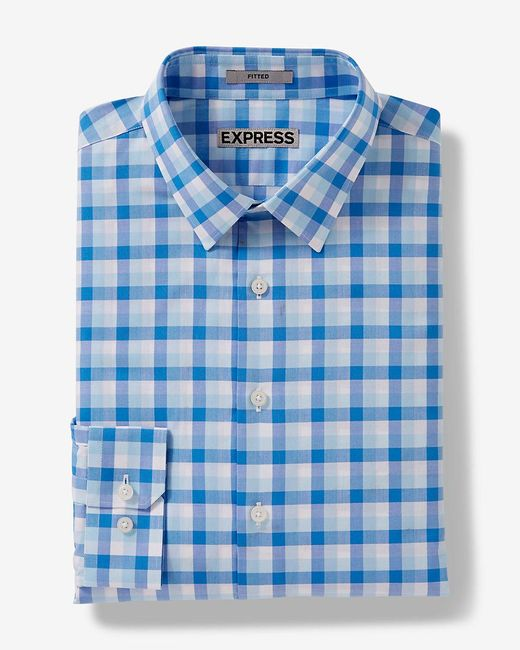 Express | Black Fitted Check Dress Shirt for Men | Lyst