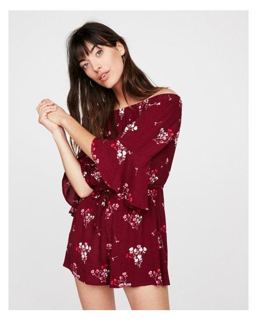 Express - Red Floral Off The Shoulder Bell Sleeve Romper - Lyst