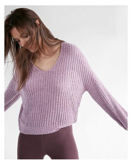 Express Cozy V-neck Chenille Shaker Knit Sweater in Purple | Lyst