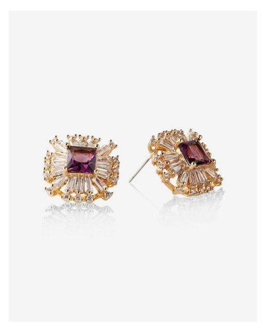 Express - Purple Cubic Zirconia Square Stud Earrings - Lyst