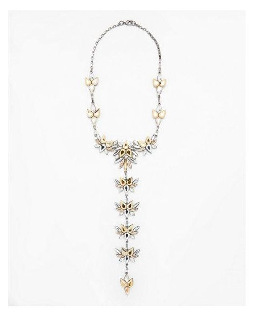 Express | Metallic Mixed Stone Statement Necklace | Lyst