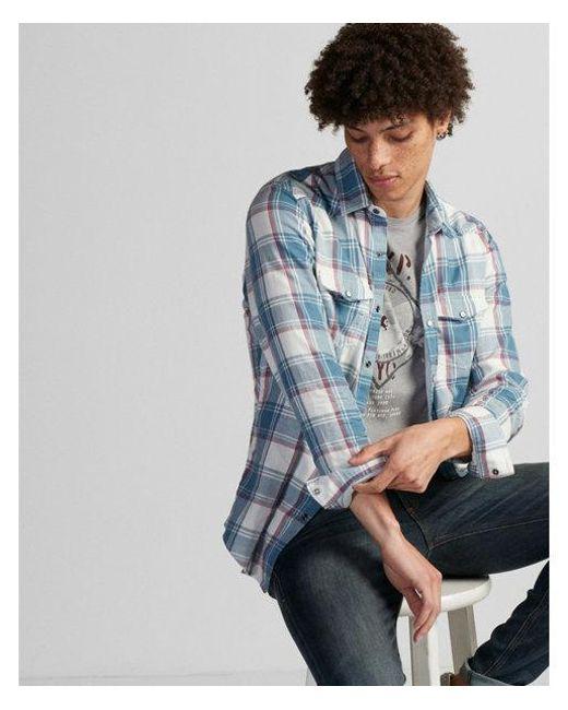 Express - Blue Slim Plaid Double Weave Western Shirt for Men - Lyst