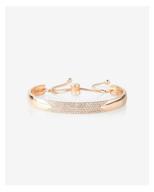 Express | Metallic Pull Chain Pave Bangle Bracelet | Lyst