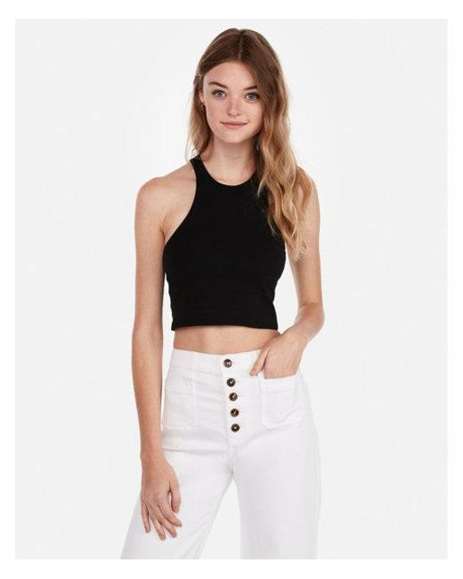 5dad9aa325 Lyst - Express One Eleven High Neck Racerback Crop Top in Black