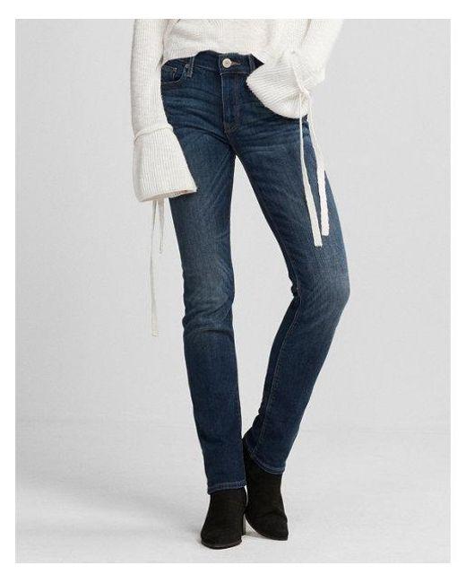 Express - Blue Mid Rise Medium Wash Stretch Skinny Jeans, Women's Size:00 Short - Lyst