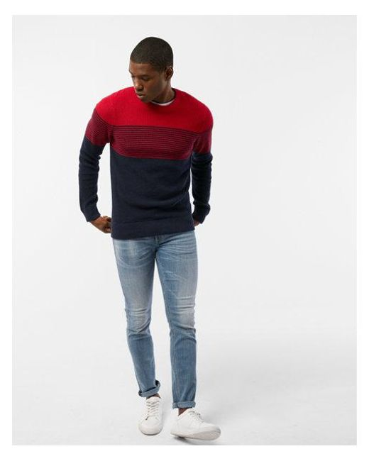 Express | Red Color Block Stripe Crew Neck Sweater for Men | Lyst