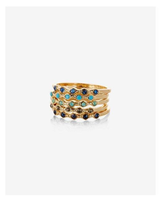 Express | Blue Set Of Five Mulitcolor Stone Rings | Lyst