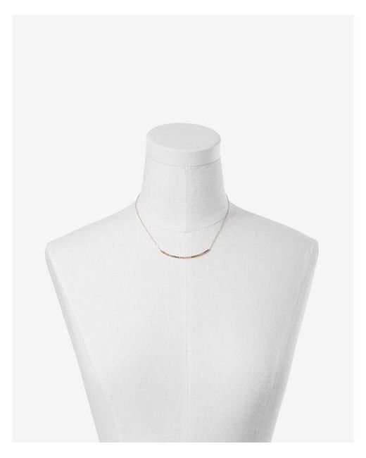 Express - Metallic Rainbow Curved Pave Necklace - Lyst