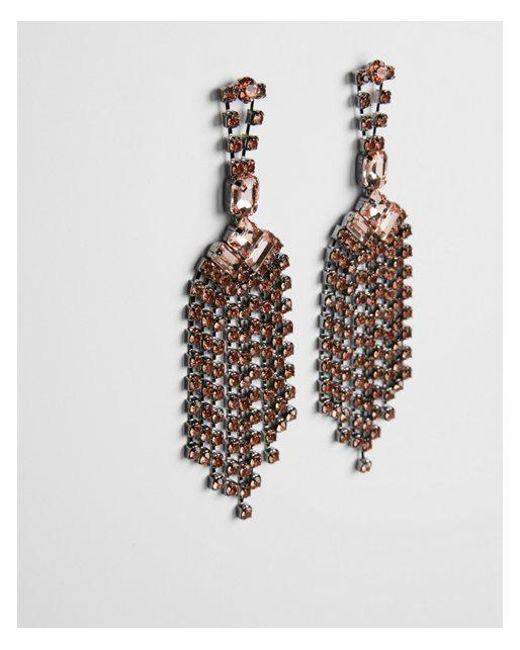 Express - Pink Rhinestone Fringe Drop Earrings - Lyst