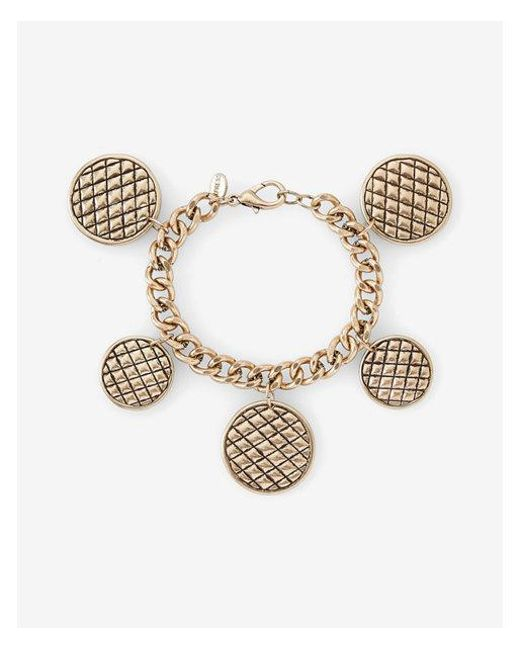 Express | Metallic Quilted Station Charm Bracelet | Lyst