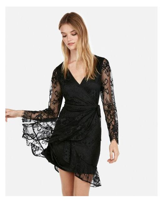 Lyst Express Lace Wrap Fit And Flare Dress In Black
