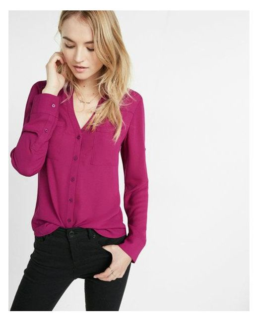 557e782281235 Express Slim Fit Convertible Sleeve Portofino Shirt in Pink - Lyst