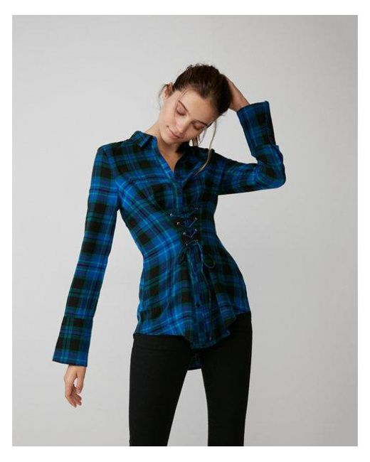 Express | Blue And Green Corset Front Cotton Flannel Shirt | Lyst